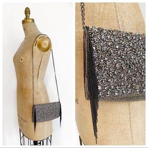 MARY FRANCIS gunmetal beaded chain shoulder bag.